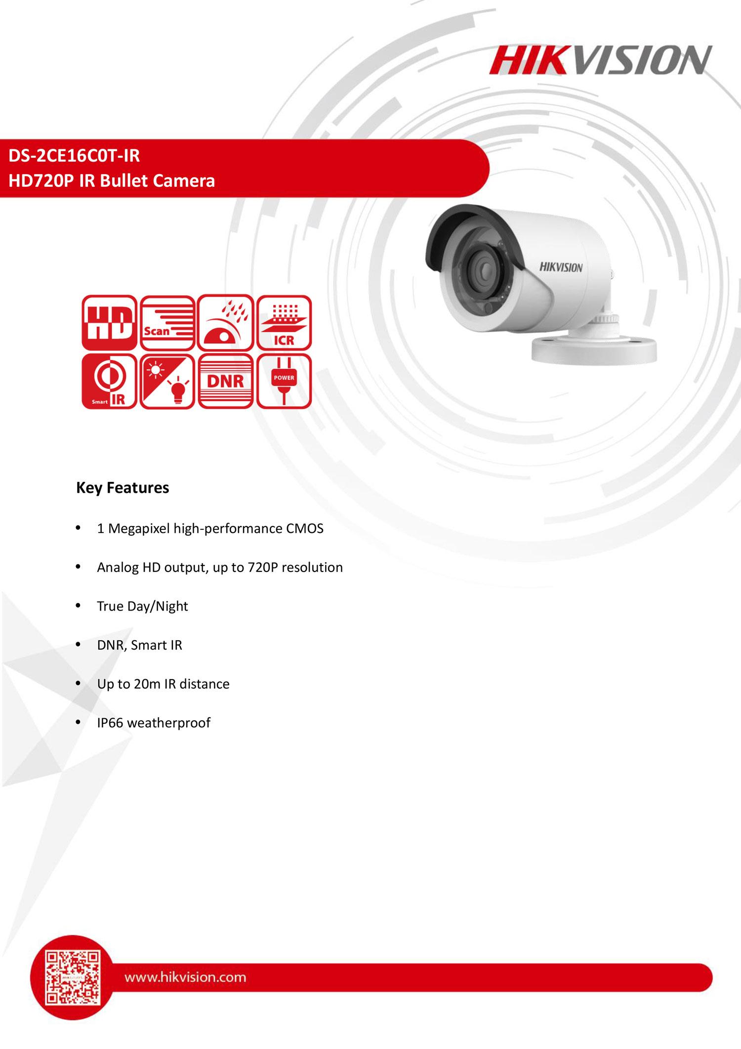 CCTV DS-CE16C0T-IR กล้องวงจรปิด Hikvision HDTVI 1MP