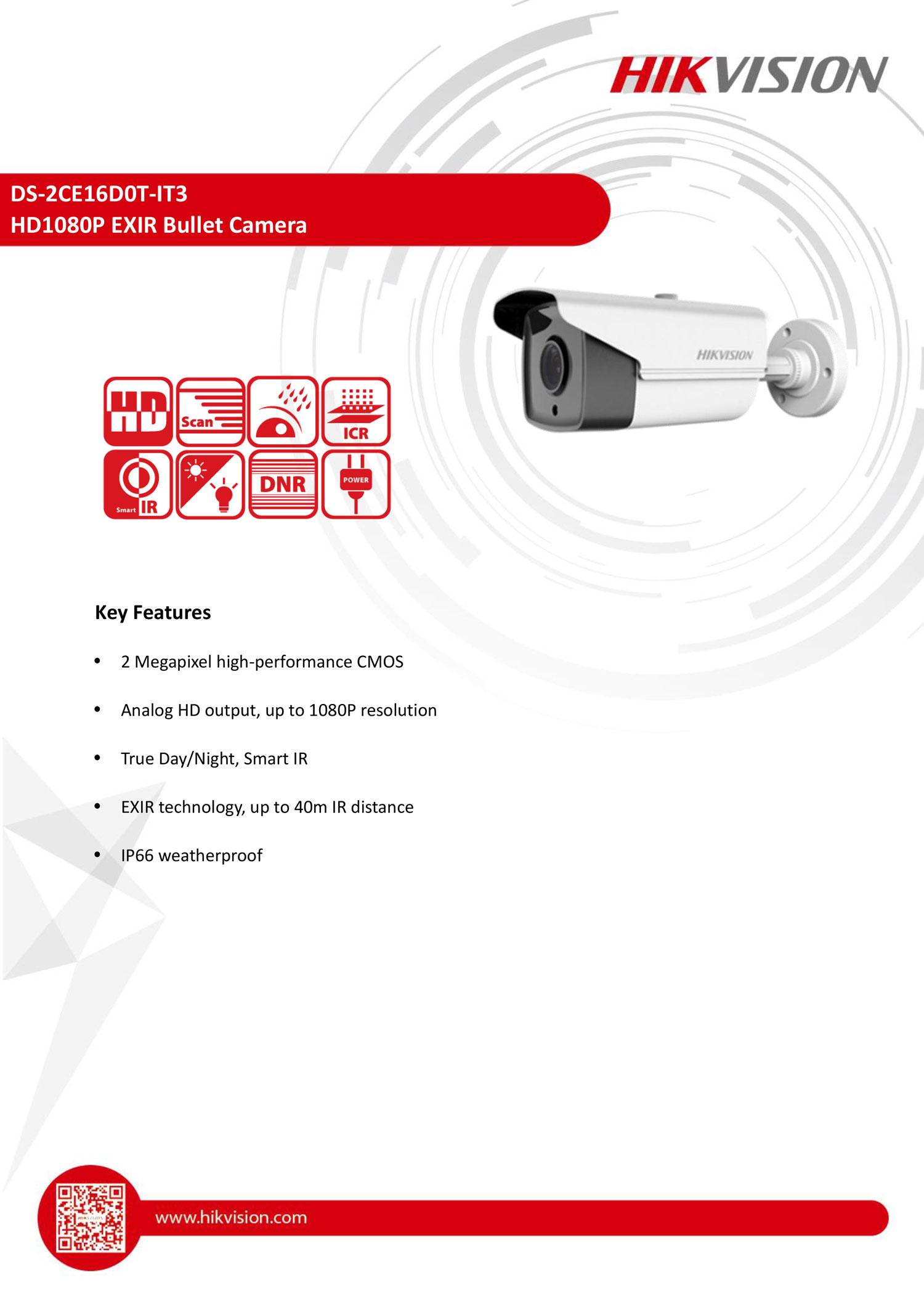 CCTV DS-2CE16D0T-IT3 กล้องวงจรปิด Hikvision